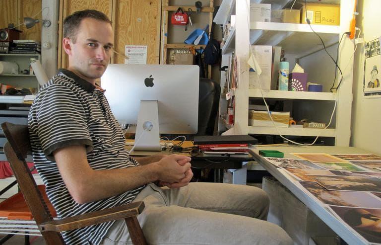 Ethan Murrow in his South End studio. (Andrea Shea/WBUR)