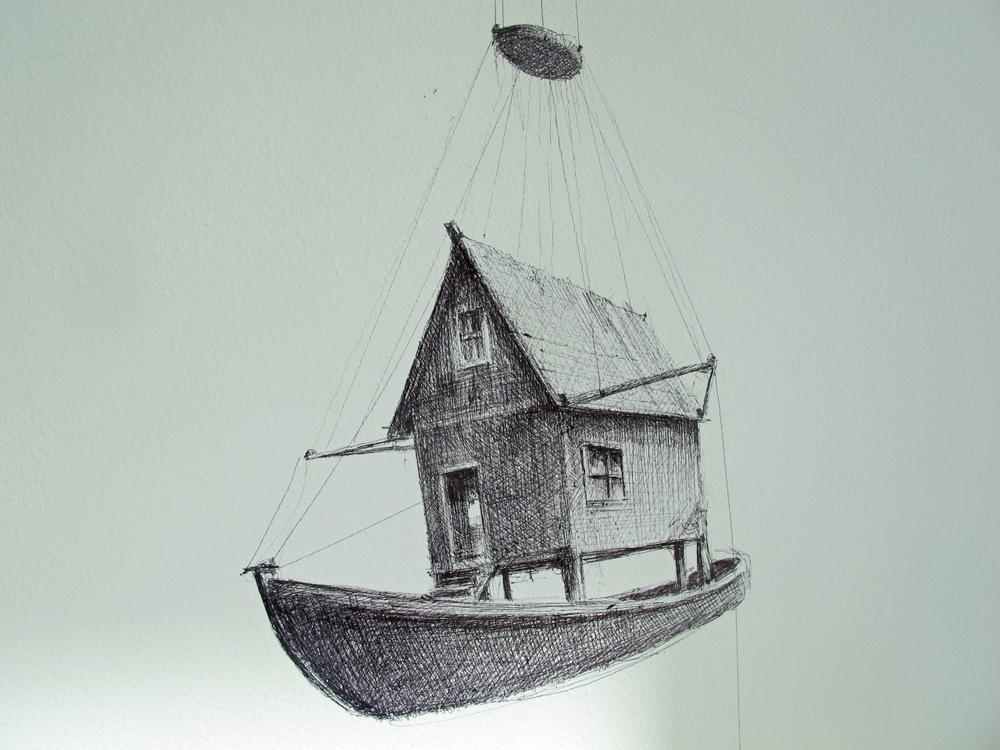 """""""Flotilla"""" is a sprawling series of more than 100 tiny, painstakingly detailed ball point pen drawings by Boston artist Ethan Murrow. (Andrea Shea/WBUR)"""