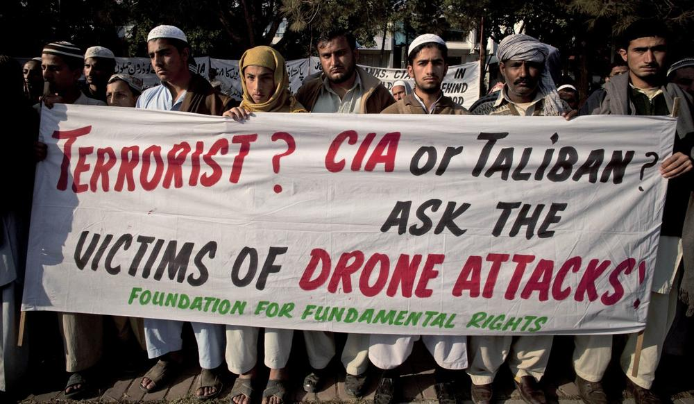 Pakistani tribal villagers hold a rally to condemn the U.S. drone attacks on their villages in border areas along the Afghanistan border, in Islamabad, Pakistan, Dec. 10, 2010. (B.K. Bangash/AP)