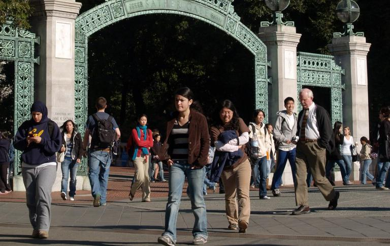 Students at the Sather Gate of the University of California, Berkeley, campus. (Wikimedia Commons)