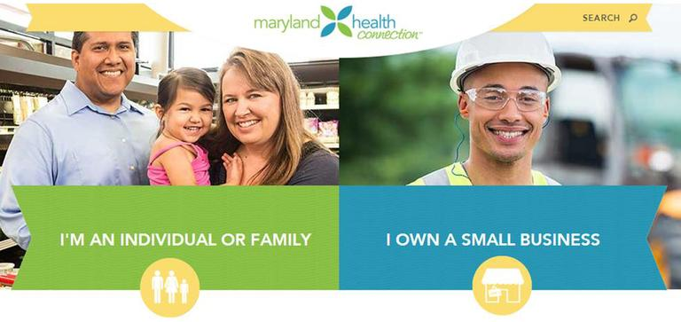 Screenshot of Maryland health connection website