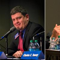 John Connolly, left, and Marty Walsh, right, are vying to become the next mayor of Boston. (Jesse Costa/WBUR)