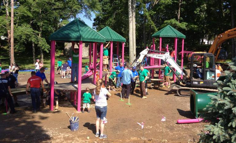 A playground dedicated to Newtown victim Victoria Soto is pictured under construction in June 2013, in Stratford, Conn. (The Sandy Ground: Where Angels Play/Facebook)