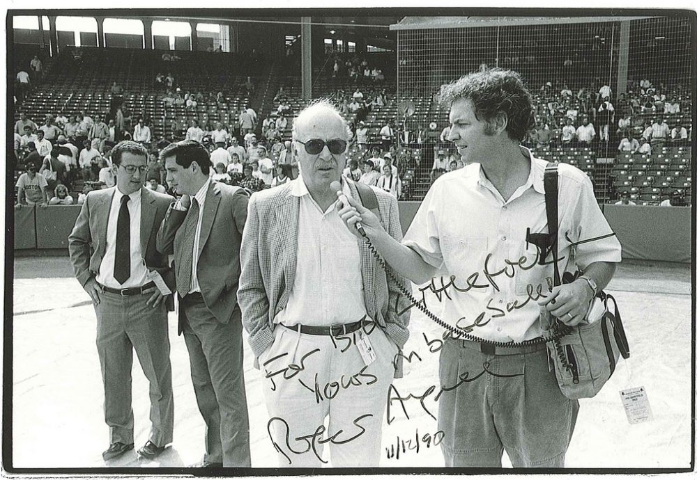 Bill Littlefield in his pre-Only A Game days, interviewing legendary sportswriter Roger Angell. (Only a Game)
