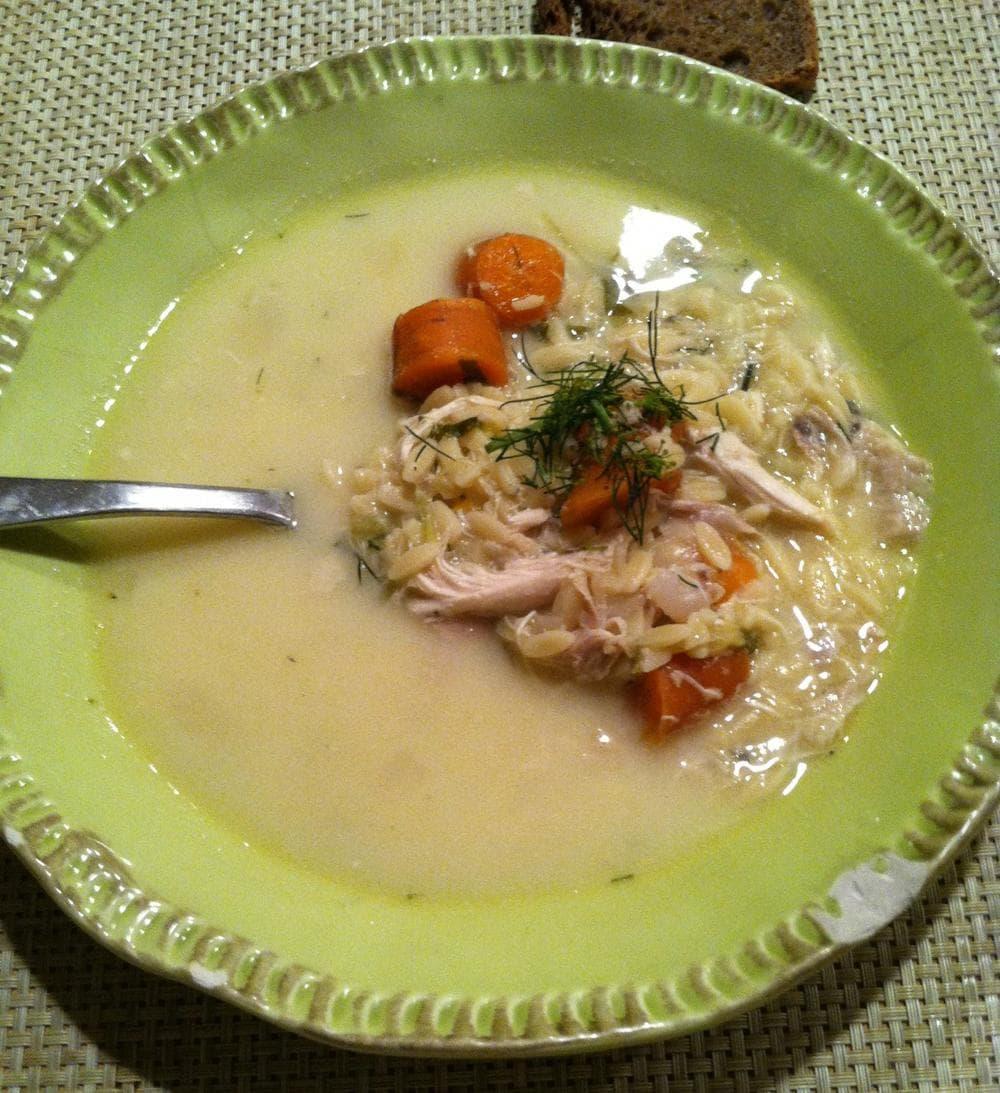 "Greek-Style Turkey-Lemon-Rice Soup ""Avgolemono"" (Kathy Gunst/Here & Now)"