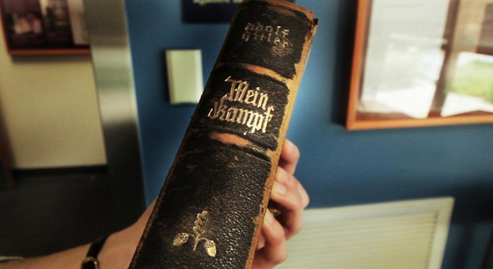 This copy of Mein Kampf was displayed upside down out of disrespect in the Boston-area Mandell household for decades. (Matthew White)
