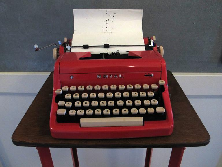 Grub Street's blood-red typewriter is the writing center's ode to Poe. (Grub Street)