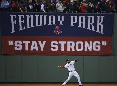 Pitcher John Lackey warms up before Game 6, Wednesday, Oct. 30, 2013, in Boston. (Matt Slocum/AP)