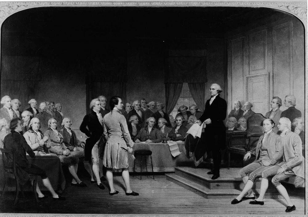 """George Washington is depicted in the 1856 painting """"George Washington Addressing the Constitutional Convention"""" by Junius Brutus Stearns, depicting a climactic moment at the end of the convention. (AP)"""