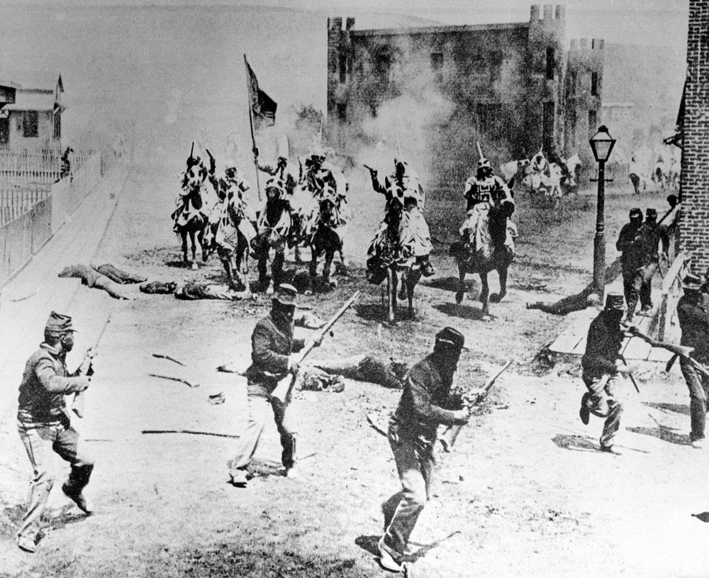 "Klansmen ride against the army of occupation in this scene from D.W. Griffith's ""Birth of a Nation"" filmed in Hollywood, Calif., in 1914. (AP)"