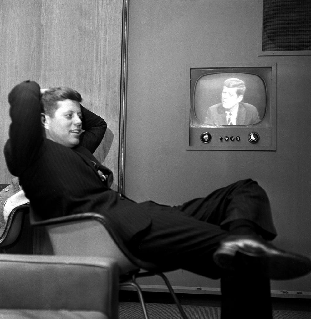 Sen. John F. Kennedy, Democratic presidential nominee, sees a playback of his televised appearance in Milwaukee, Wis., April 3, 1960. Sen. Kennedy answered questions and gave his views as part of his campaign to win the Wisconsin presidential preference primary April 5. (AP)