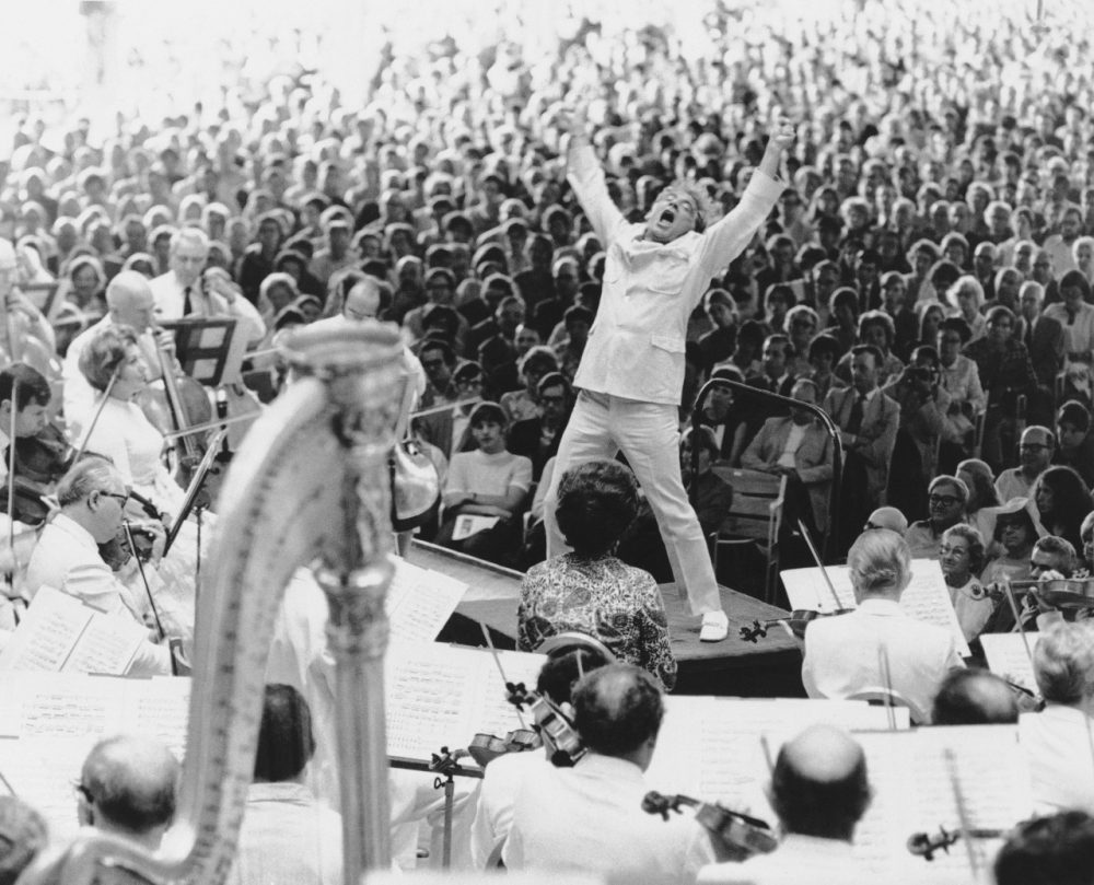 Conductor Leonard Bernstein gives it his all at the climax of Mahler's Second Symphony at Tanglewood in 1970. (AP)