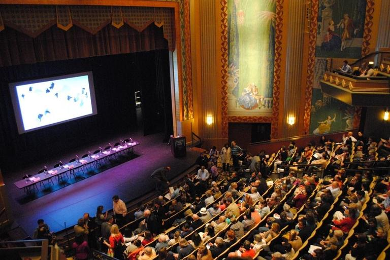 A packed Paramount Theatre for the Sept. 9 Create the Vote mayoral forum. (Kat Waterman)