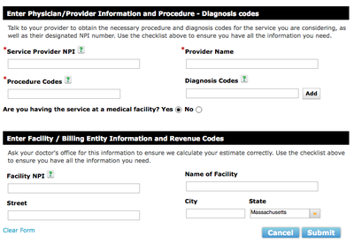 The form Blue Cross patients fill out if they want an estimated price for health care.
