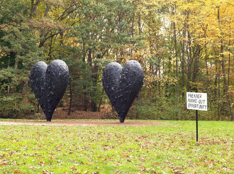 Boston artist Pat Falco strategically placed eight of his amusing, deadpan signs throughout deCordova's sculpture park. (Courtesy of the artist/Clements Photography and Design)