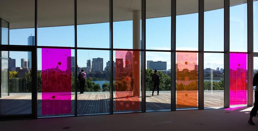 """Little Sun""'s installation in the windows of the MIT Media Lab mezzanine. (Franklin Einspruch)"