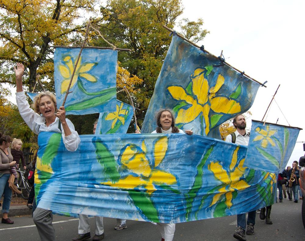 Bread and Puppet Theater of Glover, Vermont, paraded a ship of daffodils. (Greg Cook)