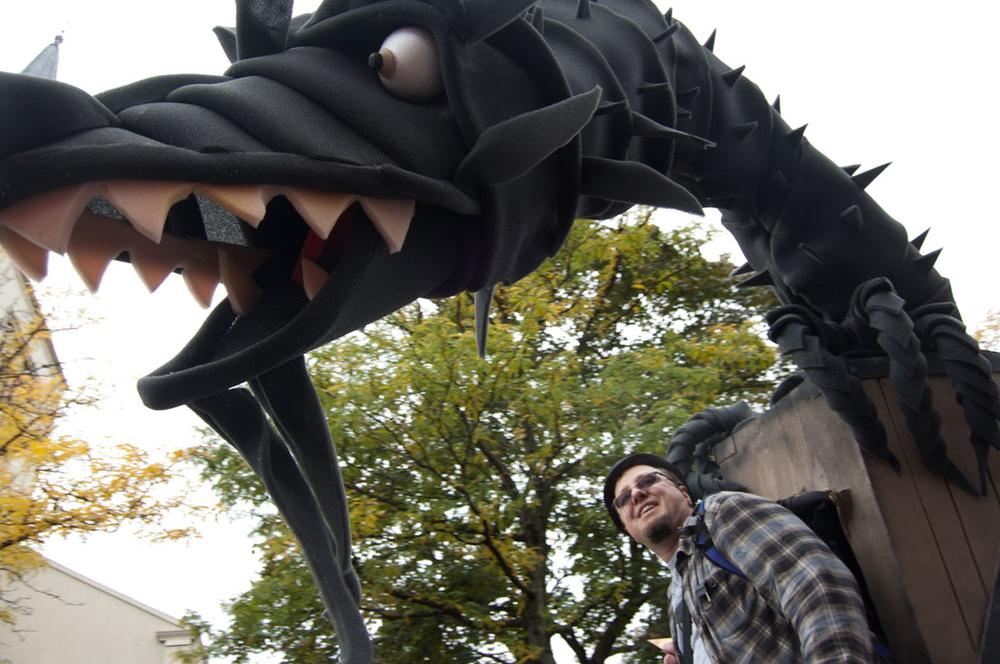 A dragon was part of a group promoting Somerville Open Studios. (Greg Cook)