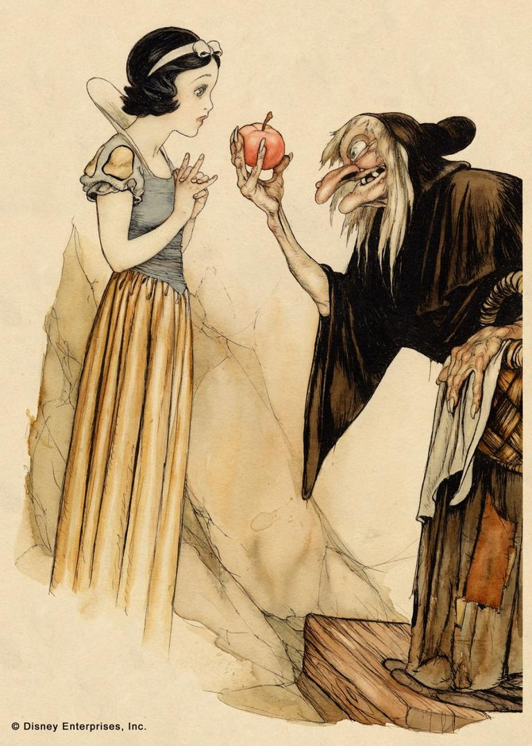 Snow White and Witch with Poisoned Apple Gustaf Tenggren Book illustration; watercolor and ink on paper (Courtesy Walt Disney Family Foundation; © Disney)