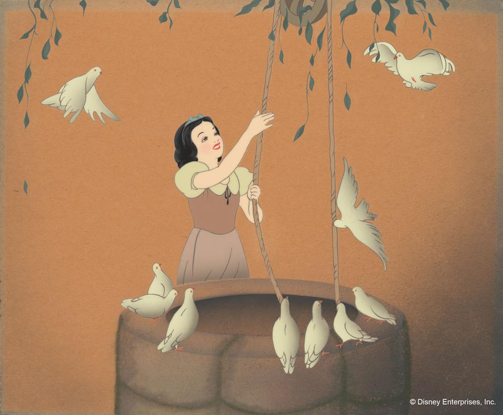 Snow White with Pigeons, Draws Water. Disney Studio Artist Reproduction cel setup; acrylic on cellulose acetate and gouache on paper. (Courtesy Walt Disney Animation Research Library; ©Disney.)