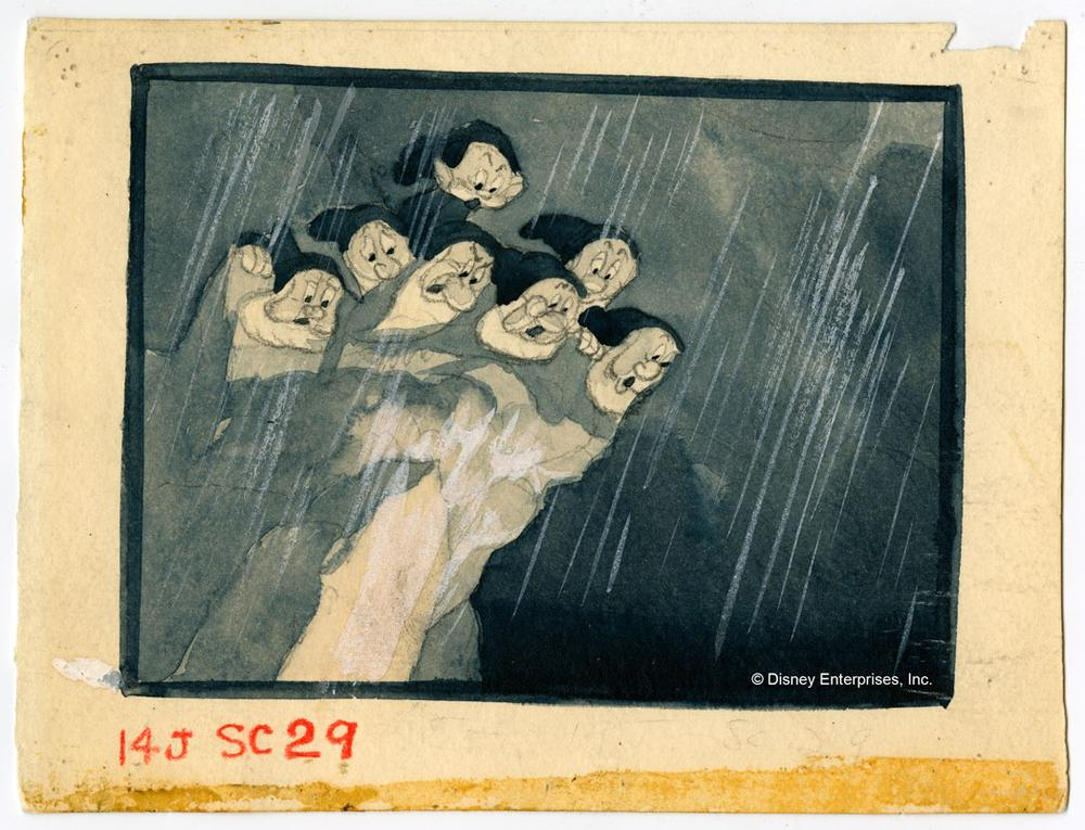 The Dwarfs Look Over Precipice to See The Witch Falling, Ken O'Connor. Layout thumbnail sketch; graphite, colored pencil and watercolor on paper. (Courtesy Walt Disney Animation Research Library; ©Disney)