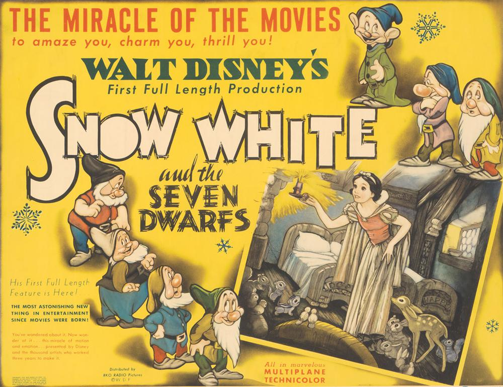 Poster with Snow White and Dwarfs Lobby card; print on paper. (Courtesy Walt Disney Animation Research Library; ©Disney.)