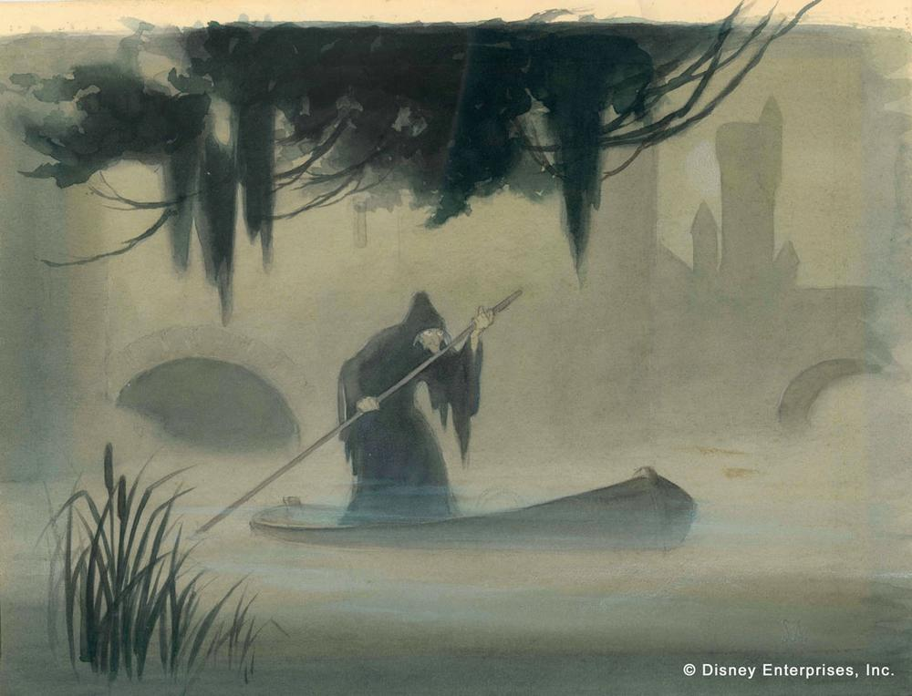 Witch in Rowboat, Samuel Armstrong Concept art; watercolor on paper. (Courtesy Walt Disney Family Foundation; ©Disney)