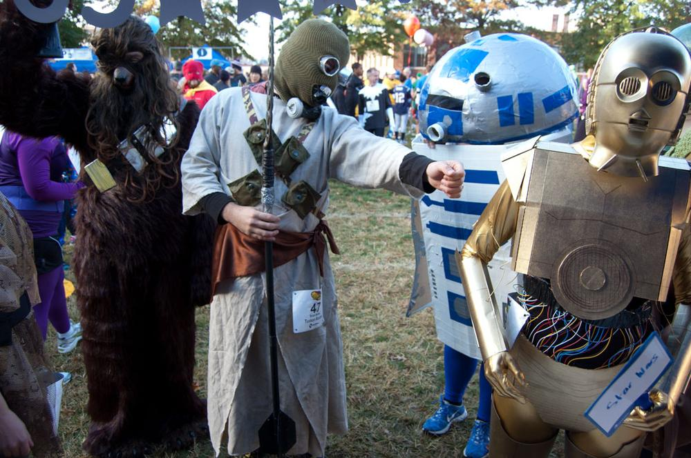 A Star Wars gang registers for the costume competition. (Greg Cook)