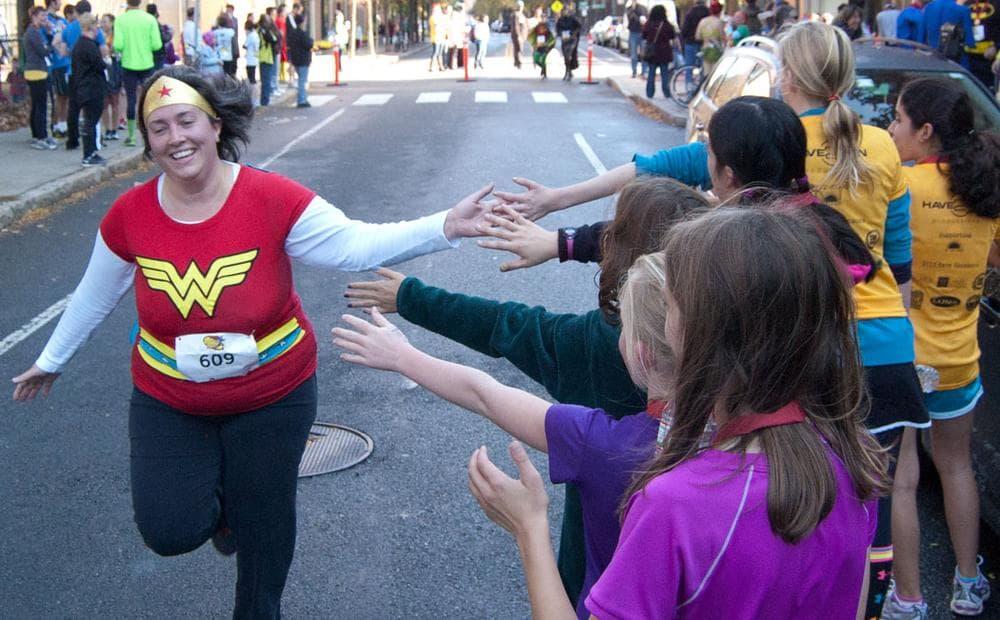 Wonder Woman nears the finish line. (Greg Cook)
