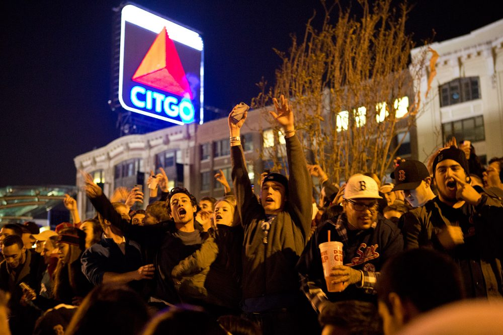 People cheer in Kenmore Square once the Red Sox clinch the World Series  title. (Jesse Costa/WBUR)