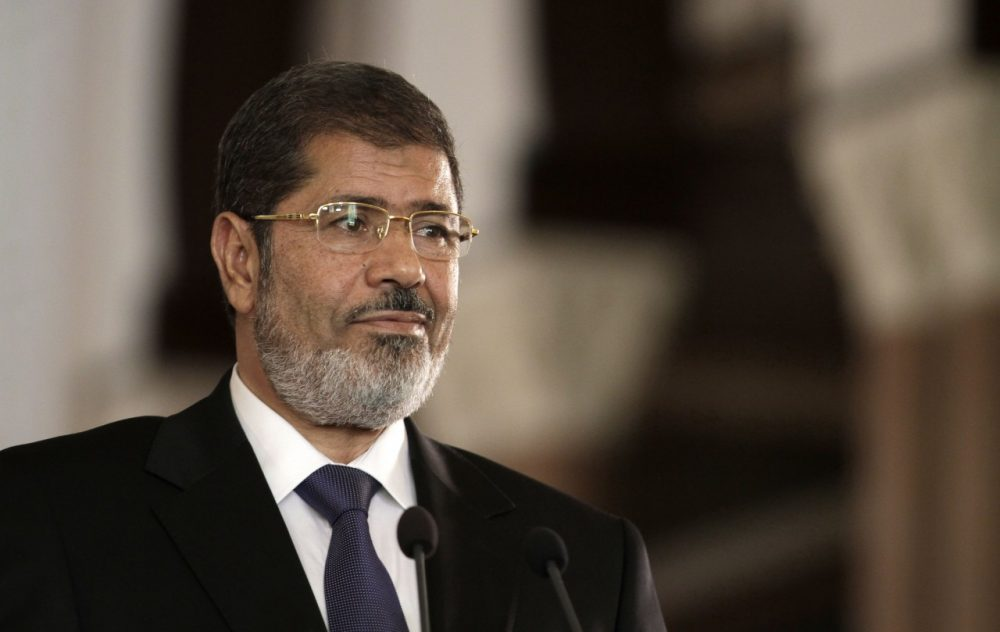 Egyptian President Mohammed Morsi is pictured July 13, 2012, at the presidential palace in Cairo, Egypt. (Maya Alleruzzo/AP)
