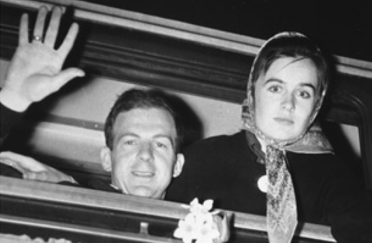 Lee Harvey Oswald and wife Marina Oswald say goodbye to Minsk on the first step of their journey to America. (U.S. National Archives & Records)