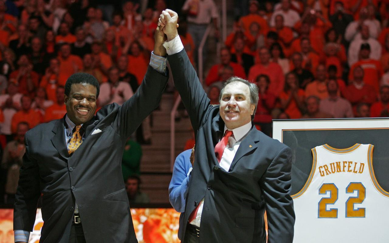 Former Tennessee players Ernie Grunfeld, right, and Bernard King reunite for the retirement of Grunfeld's jersey in 2008. (Wade Payne/AP)