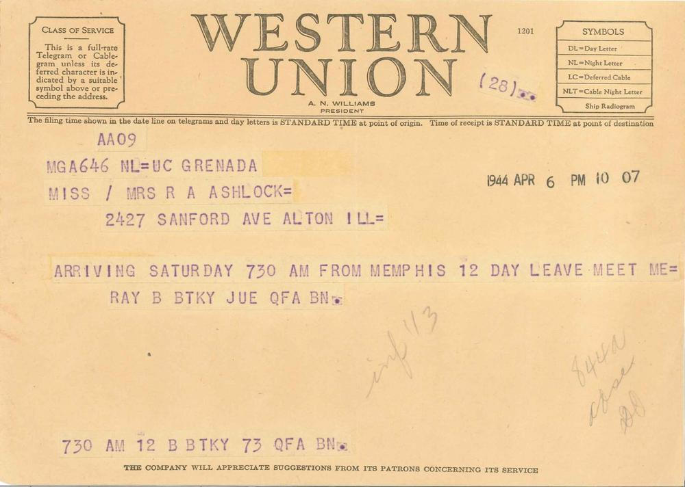 A telegram dated April 6, 1944, from Raymond Allen Ashlock to his wife.