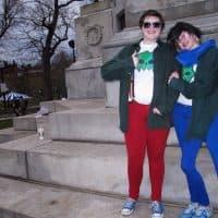 Nate and his friend Devon on Boston Common during a cosplay meetup. (Martha Bebinger/WBUR)