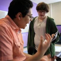 Nate and his friend Carlos rehearse lines during theater class at Boston Arts Academy. (Jesse Costa/WBUR)