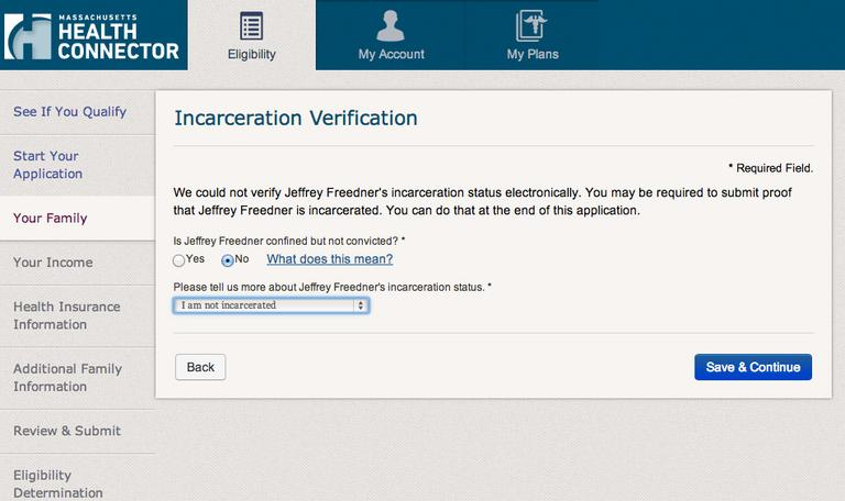 At one point trying to navigate the Connector website, Freedner had trouble getting past the incarceration verification. (screenshot)