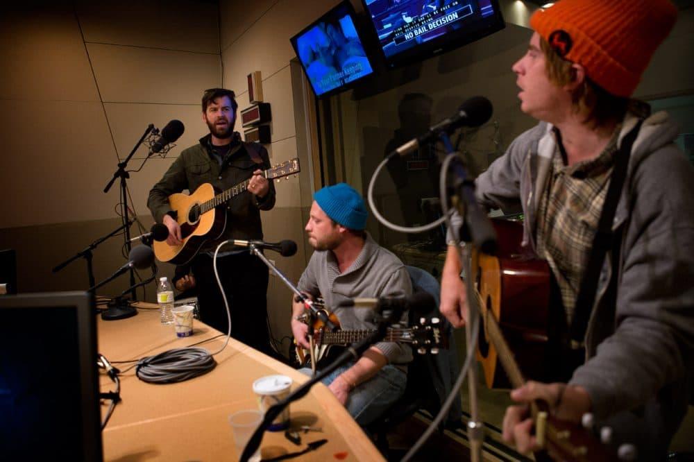 Dr. Dog plays in the Radio Boston studios. (Jesse Costa/WBUR)
