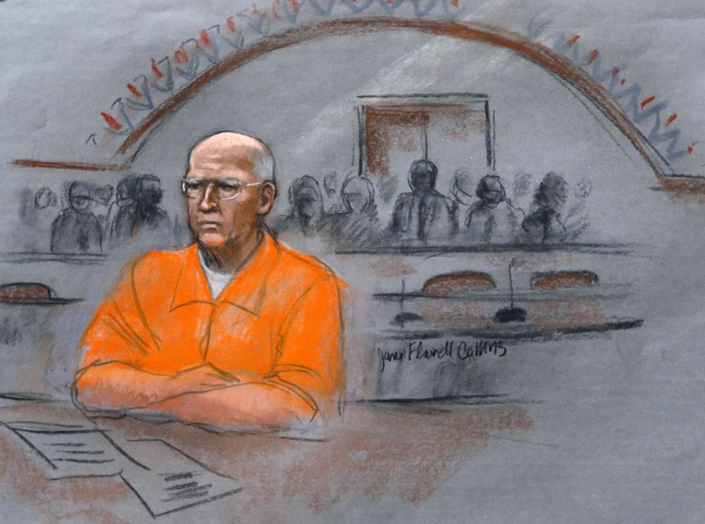 "In this courtroom sketch, James ""Whitey"" Bulger sits at his 2013 sentencing hearing in federal court. (Jane Flavell Collins/AP)"