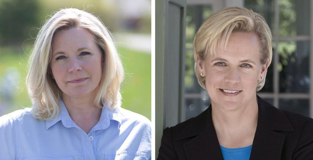 Liz Cheney, left, and Mary Cheney, right, have been feuding publicly over same-sex marriage.