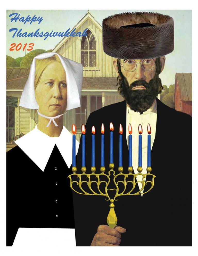 This image shows an American Gothic Thanksgivukkah Poster celebrating Thanksgiving and Hanukkah. (ModernTribe.com)