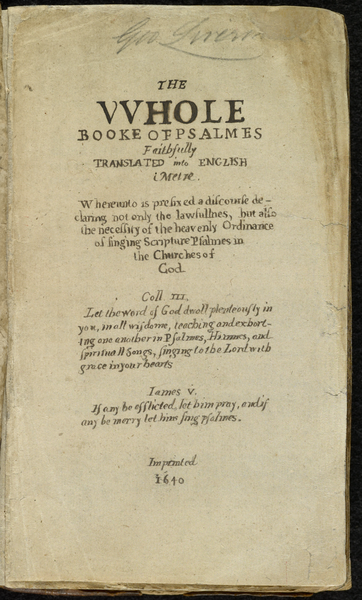 Title page of Bay Psalm Book in the Library of Congress. (Wikipedia)