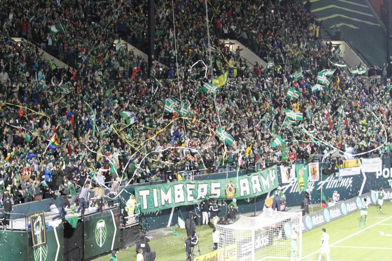Portland Timber's fans — known as the Timber's Army — went crazy after Will Johnson scored. (Conrad Wilson/Only A Game)