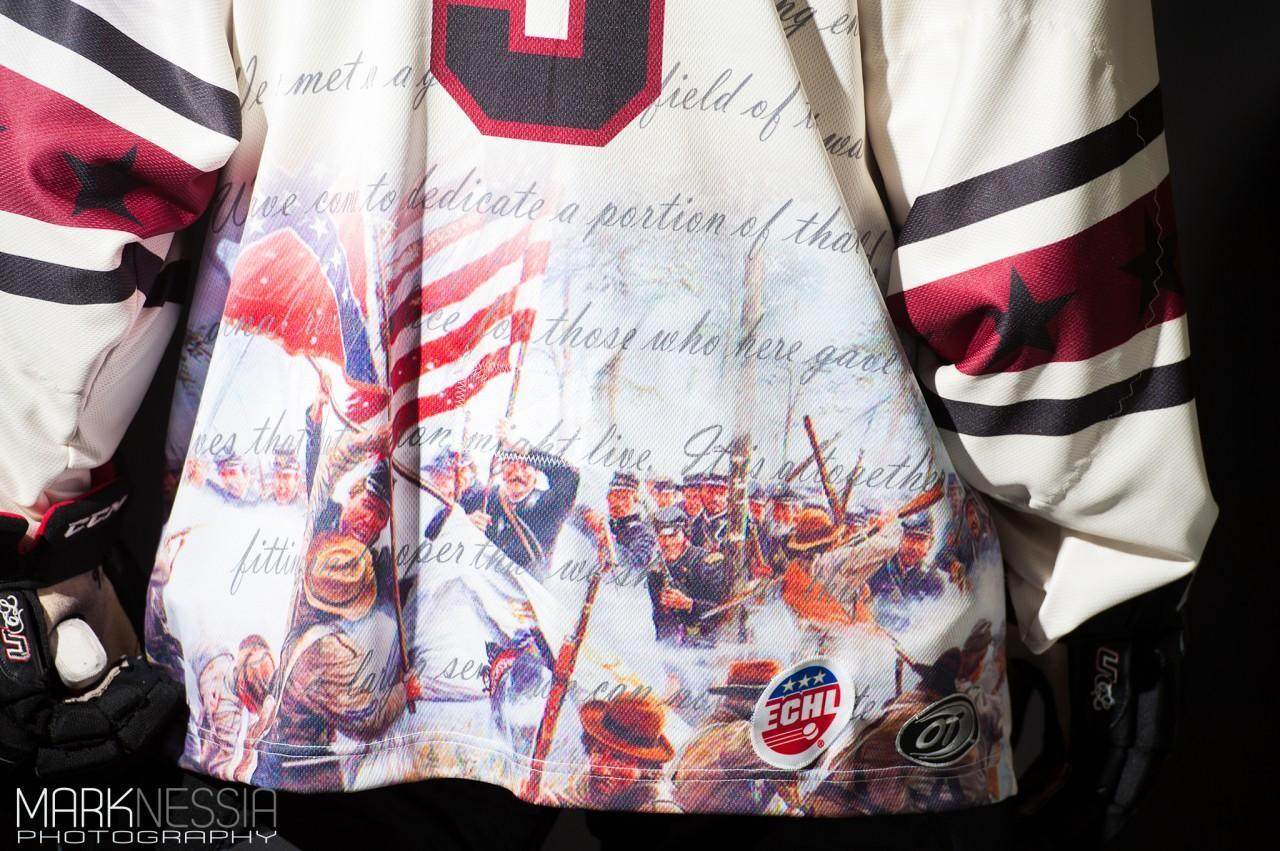 38ab0b39f Detailing on the back of the Gettysburg commemorative jersey. (Courtesy:  Mark Nessia Photography