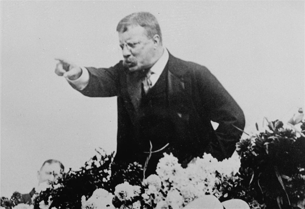 With characteristic fervor, Theodore Roosevelt stumped for William McKinley during the Presidential campaign of 1900. (Brown Brothers/AP)