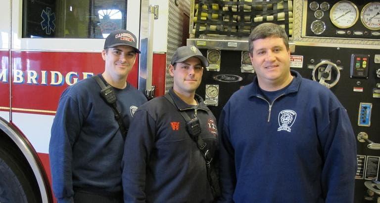 Cambridge firefighters (L-R): Kyle McLaughlin, J.T. Pasquerello and Phil Amenkowicz (WBUR)