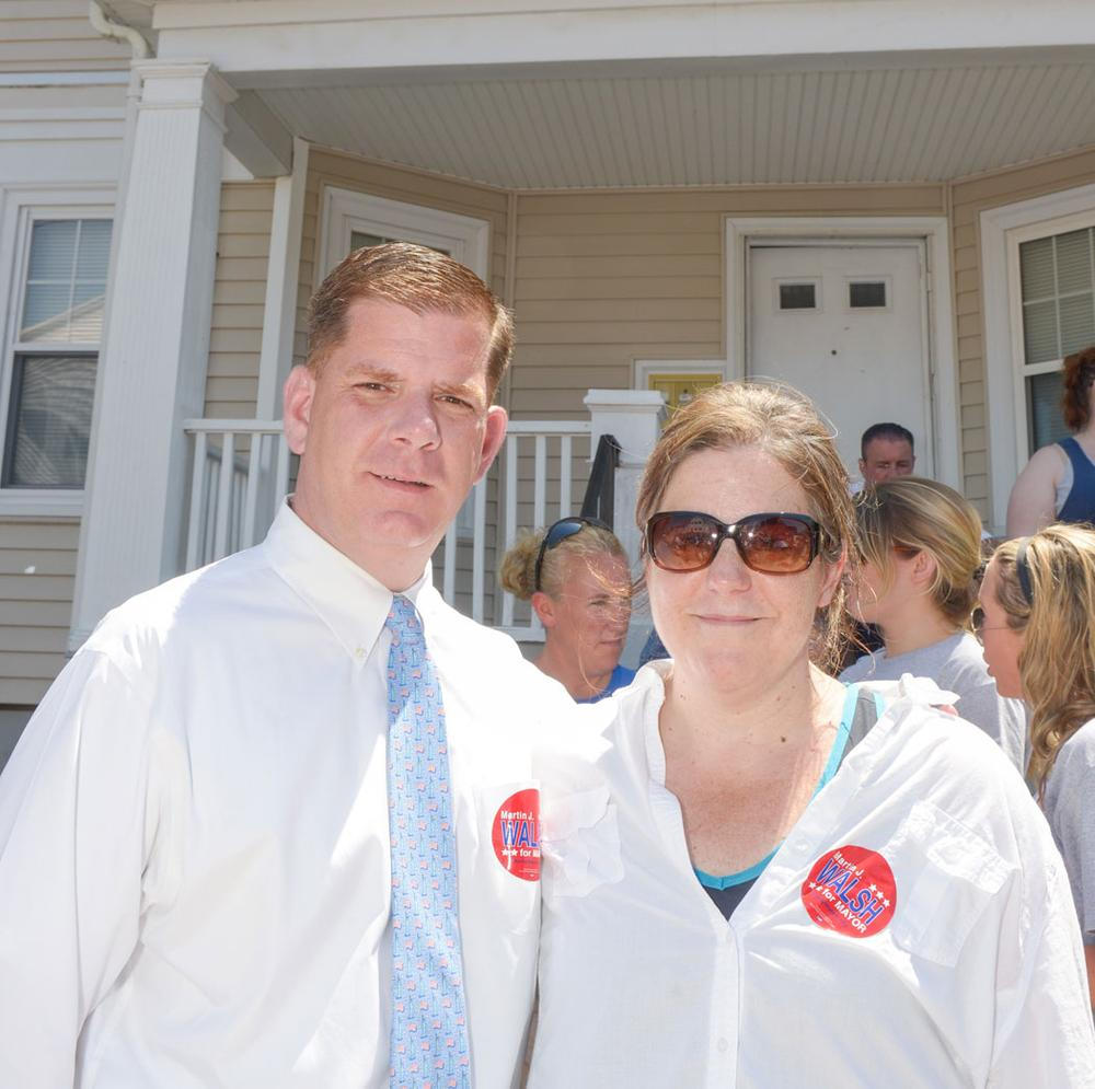 Joyce Linehan (right) with Marty Walsh. (Mike Ritter)
