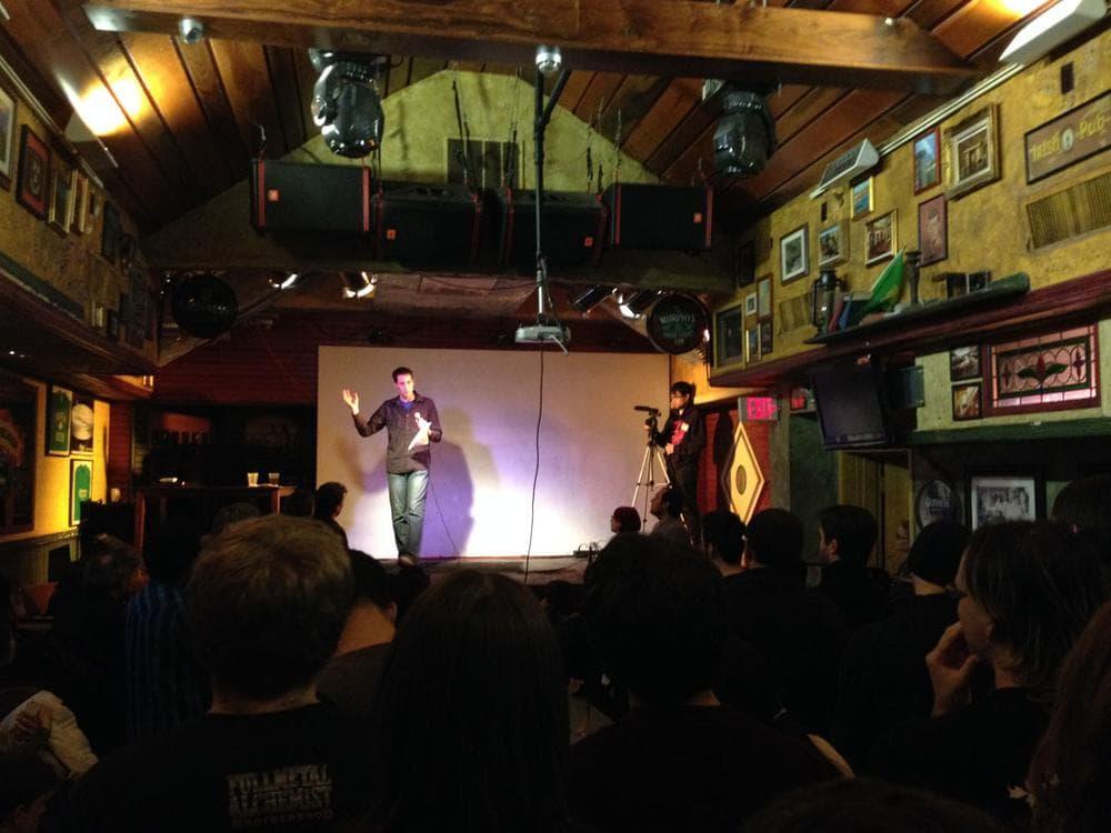 Eitan Glinert, the president of Fire Hose Games in Cambridge, speaks at a recent Boston Post Mortem. (Dennis Scimeca)