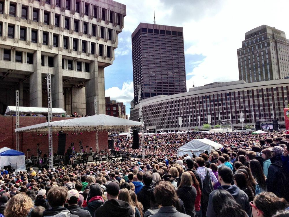 A crowd packs Boston City Hall Plaza for the Boston Calling Music Festival in May 2013. (Emma-Jean Weinstein/WBUR)