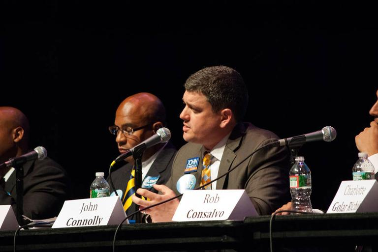 John Connolly speaks at the Create the Vote forum at Boston's Paramount Theatre on Sept. 9. (Kat Waterman/MassCreative)